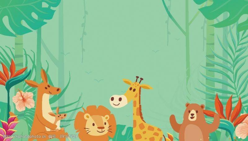 卡通夜色 动物插画图片