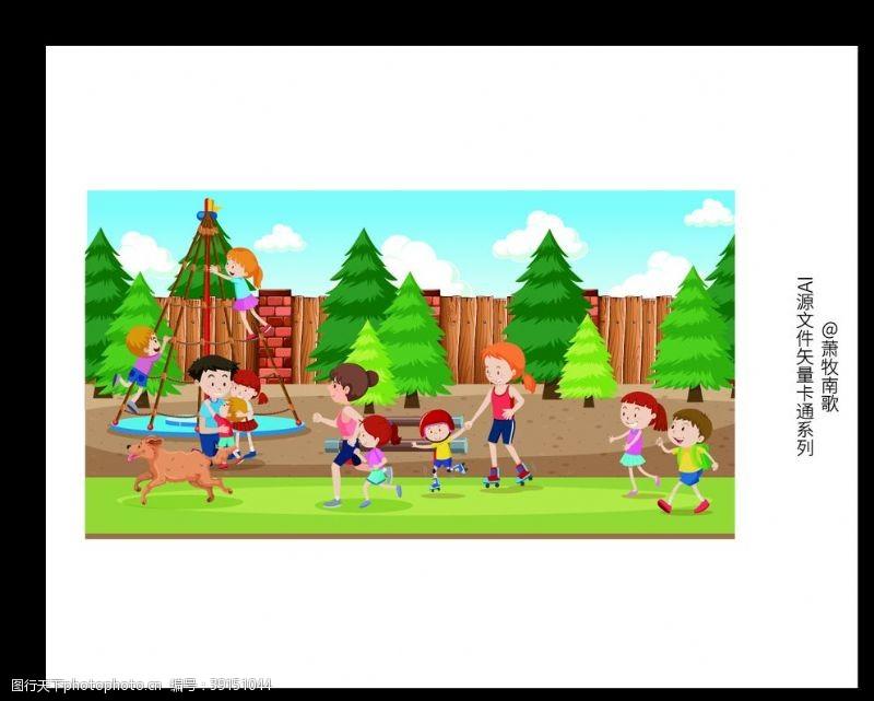 跑步运动 小朋友卡通背景AI矢量图图片