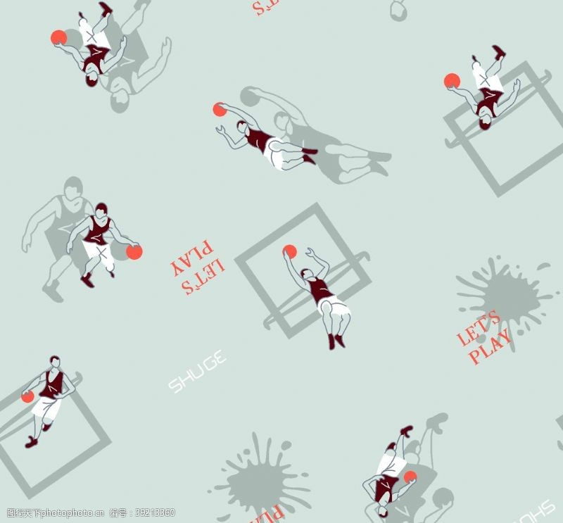 篮球剪影运动无缝图片