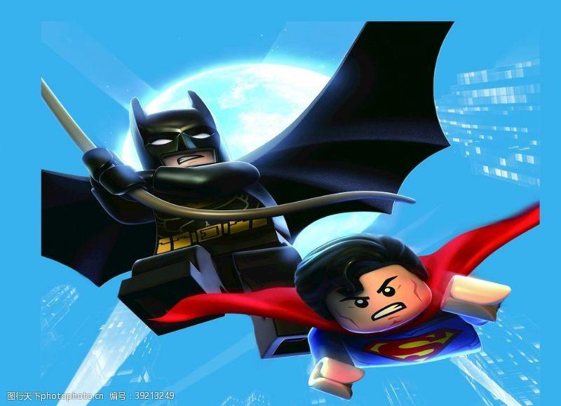 卡通月亮 乐高蝙蝠侠超人图片