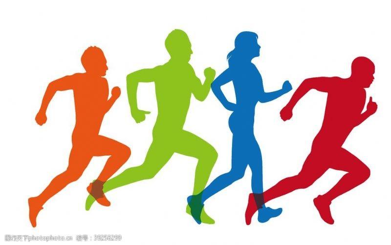 跑步运动奔跑人物剪影图片