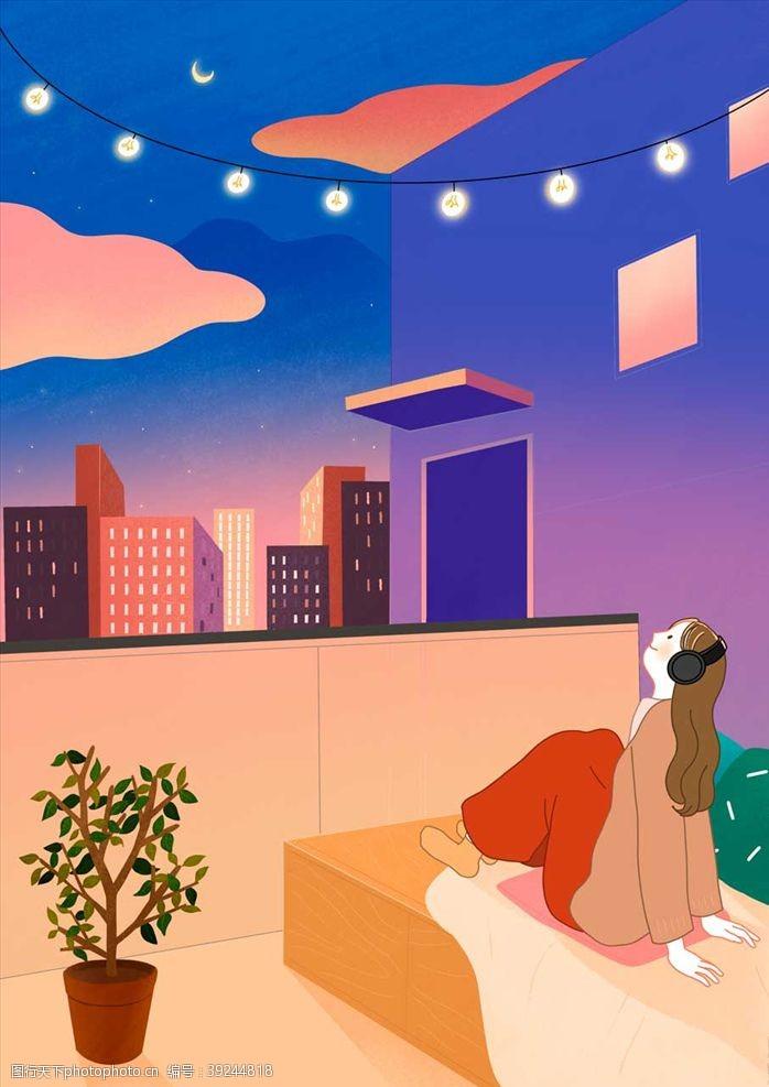 建筑插画休闲女人图片