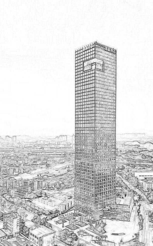 建筑线稿广州港航中心图片
