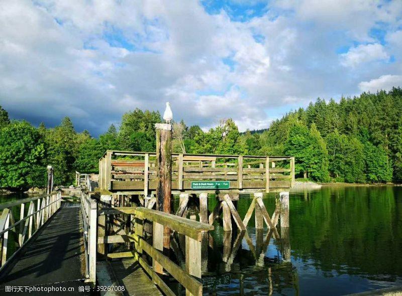 廊桥古木桥河图片