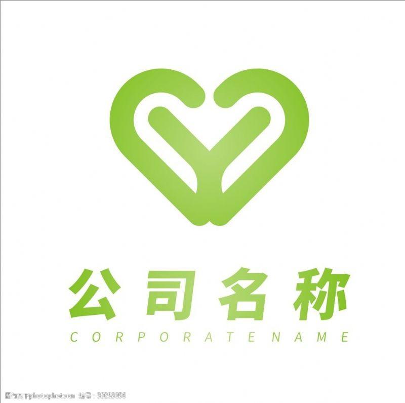 建筑公司绿色爱心公益组织logo设计图片