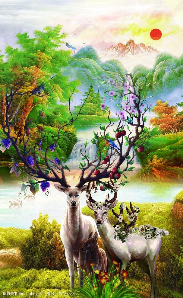 中国画麋鹿图片