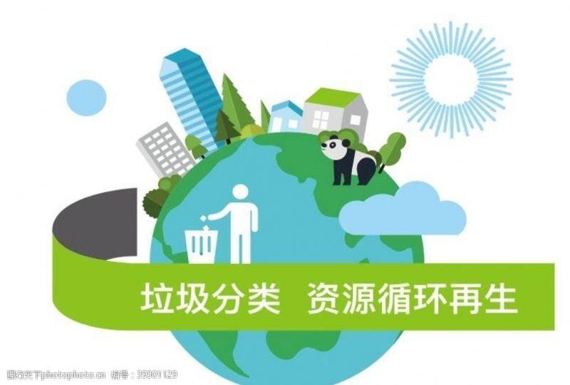 垃圾分类矢量环保地球图片