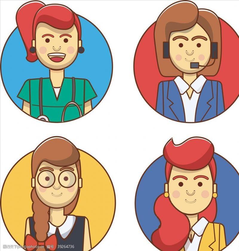 职业女性女性工作矢量图图片