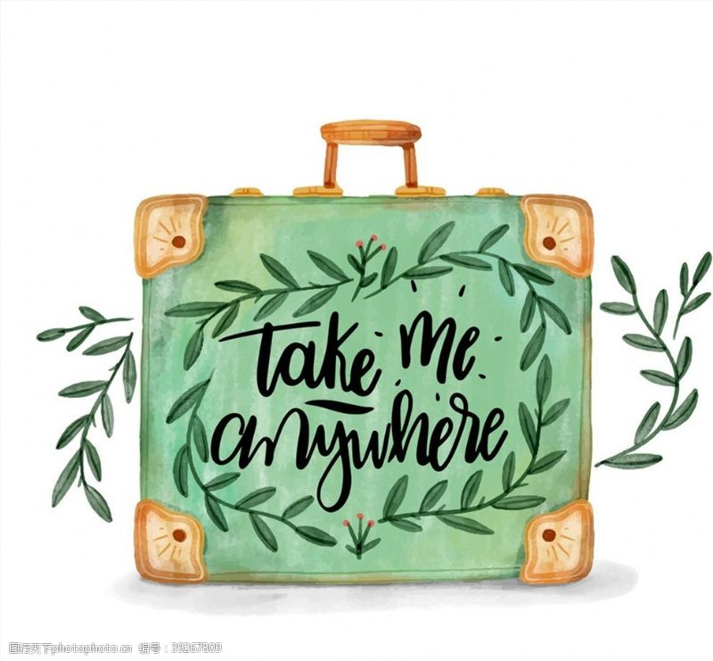 旅行箱彩绘树枝行李箱图片