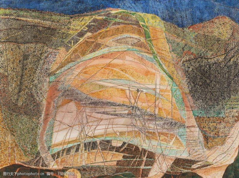 几何抽象彩色抽象油画图片