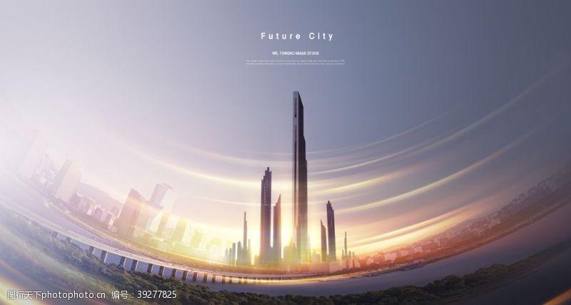 高铁海报城市光晕海报设计图片