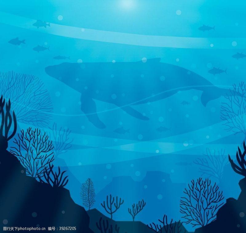 鲸海底鱼群剪影图片