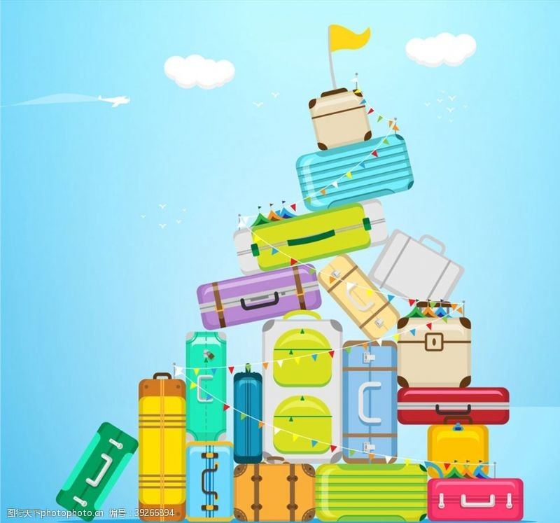 旅行箱堆起的行李箱图片