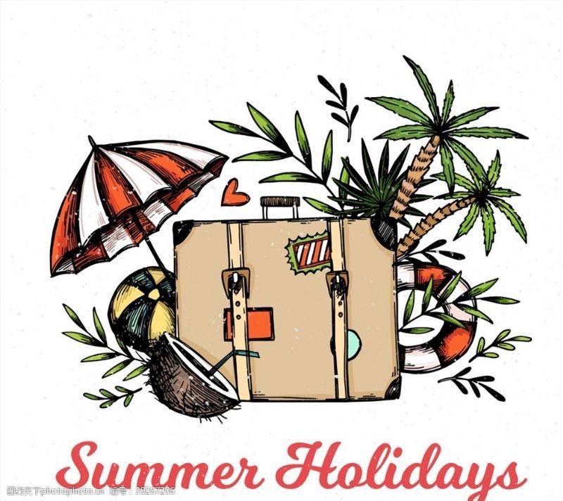 旅行箱和沙滩元素图片