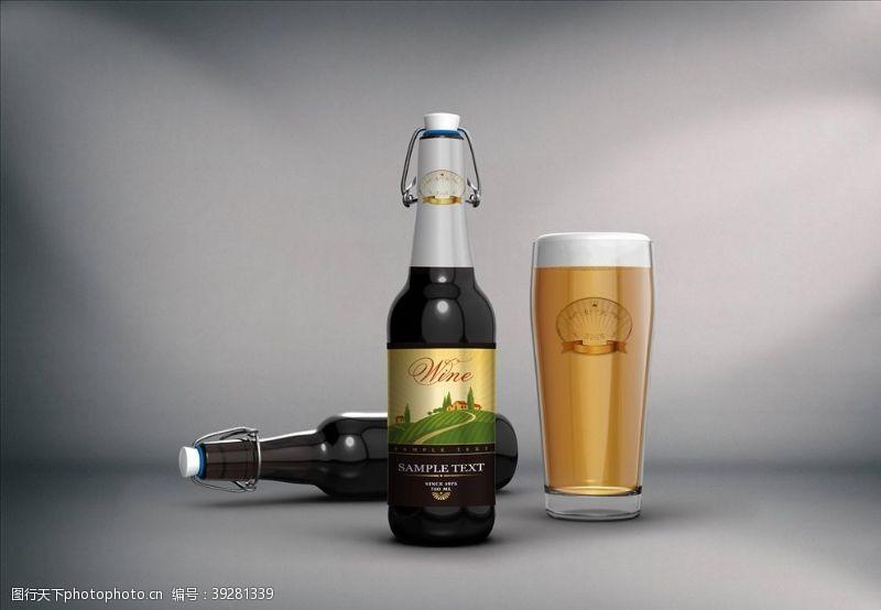 智能模板啤酒样机图片