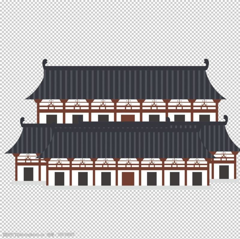 古代建筑素材手绘古建筑图片