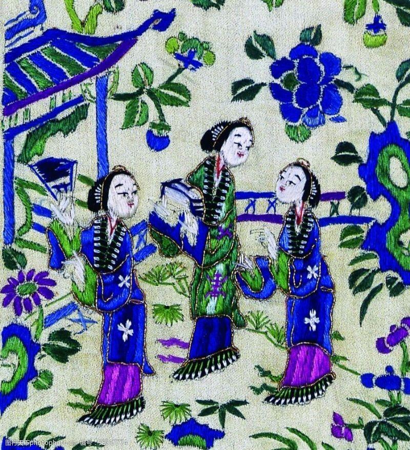 中国艺术古代刺绣人物图片