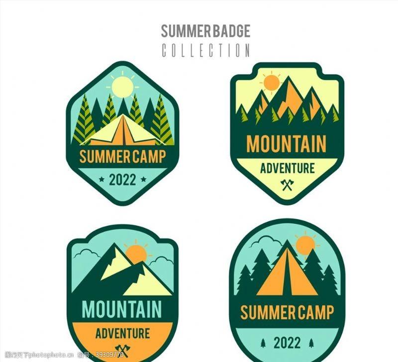 夏季户外野营徽章图片