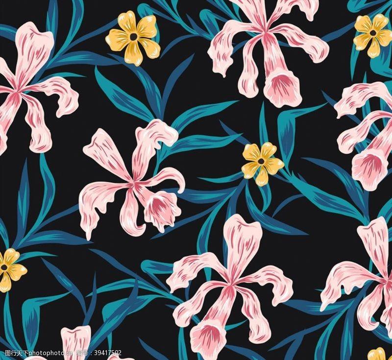 花丛彩绘兰花背景图片