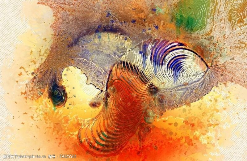 创意装饰画抽象彩色水彩图片