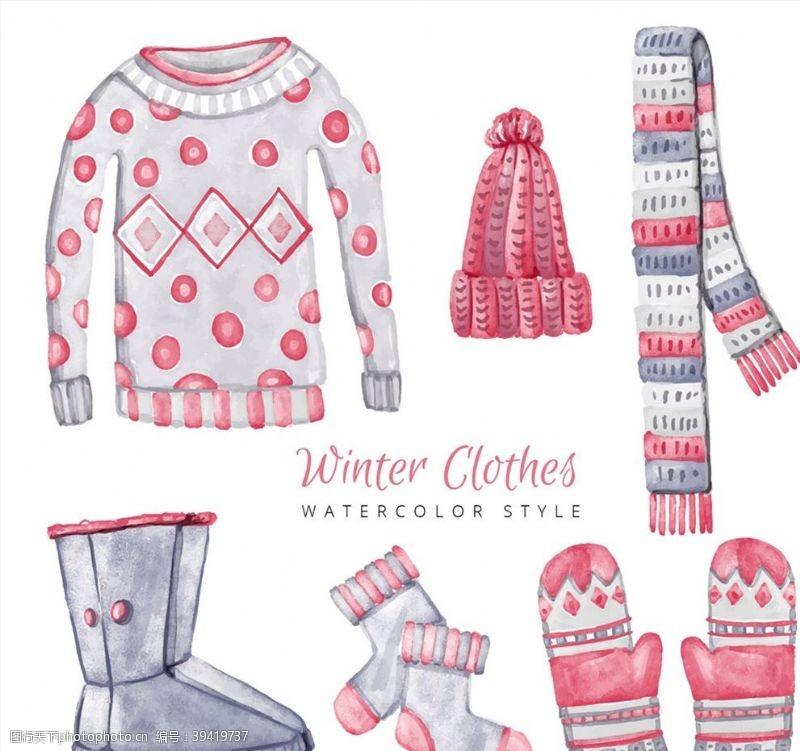 水彩冬季女式服装配饰图片