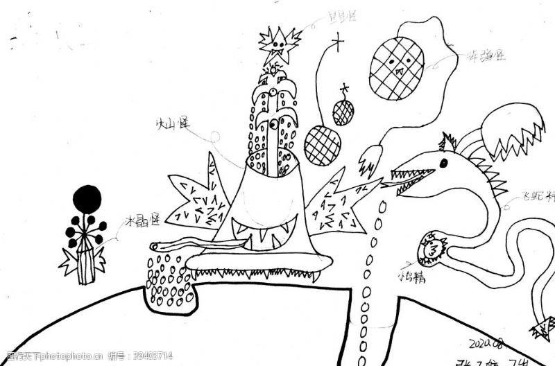 原创儿童简笔画子航怪兽系列图片