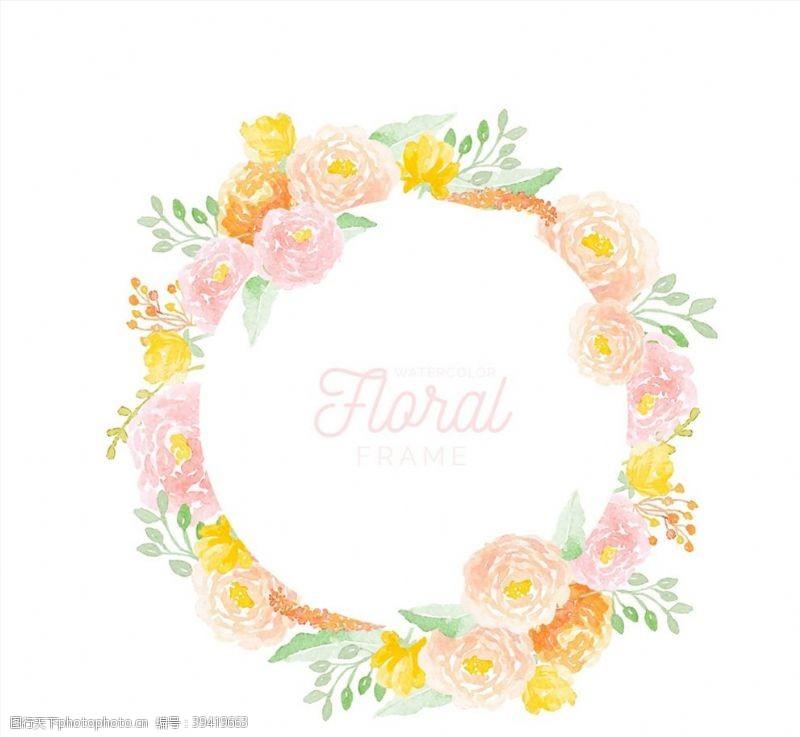 水彩粉色芍药花花环图片