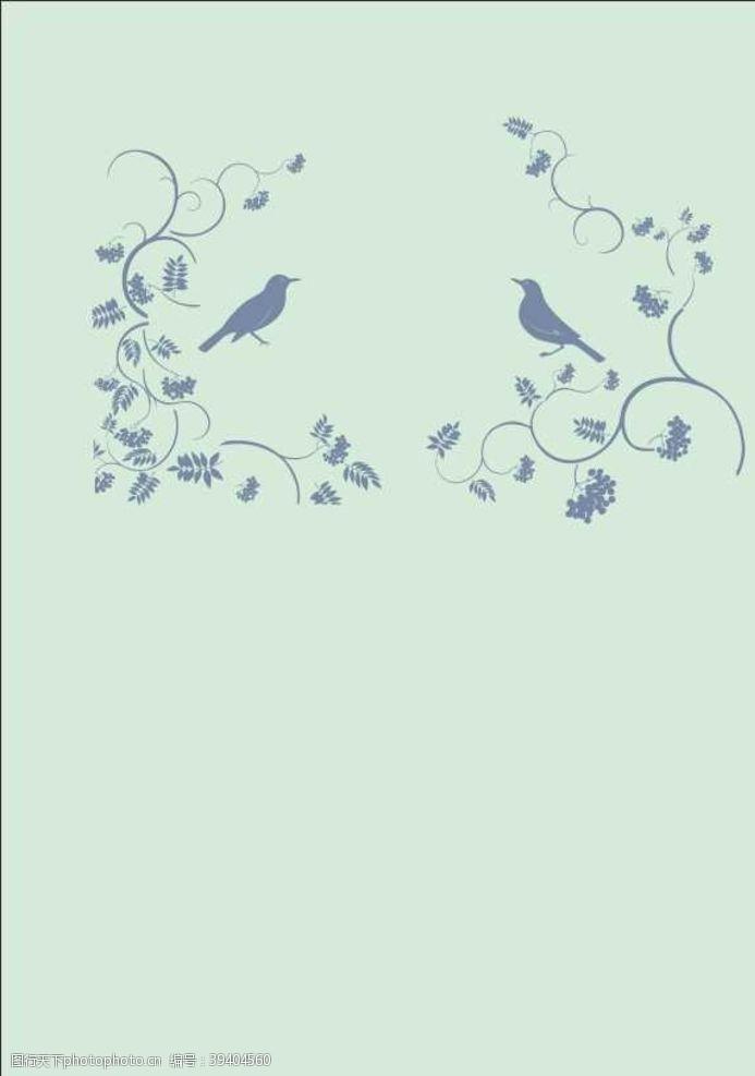 硅藻泥背景图案鸟花花纹花边图片