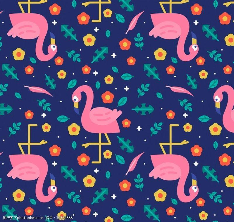 粉色火烈鸟火烈鸟和花草背景图片
