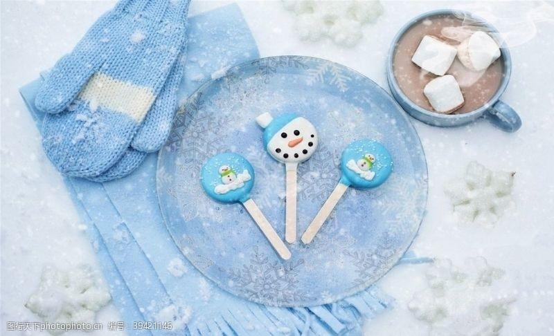 背景素材可爱雪人冬天主题糖果图片