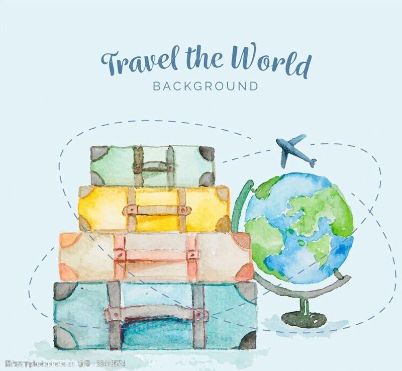 水彩旅行箱和地球仪图片