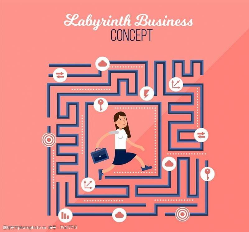 闪电迷宫中的商务女子图片