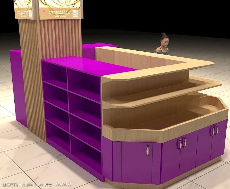 展台展示商场定制紫色原木色展台展柜图片