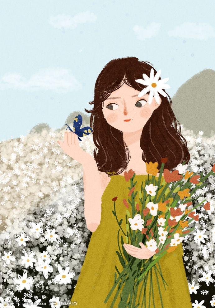 插画头像小场景插画花丛里的女孩图片