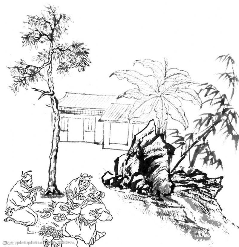 饮酒中国古代野外喝酒图片