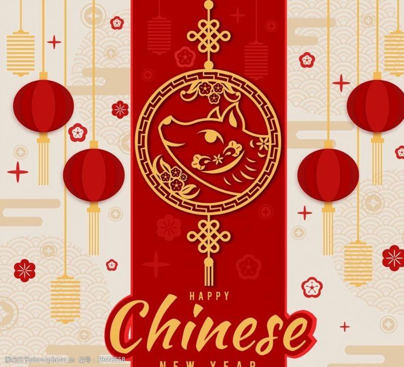 中国结猪头和灯笼贺卡图片