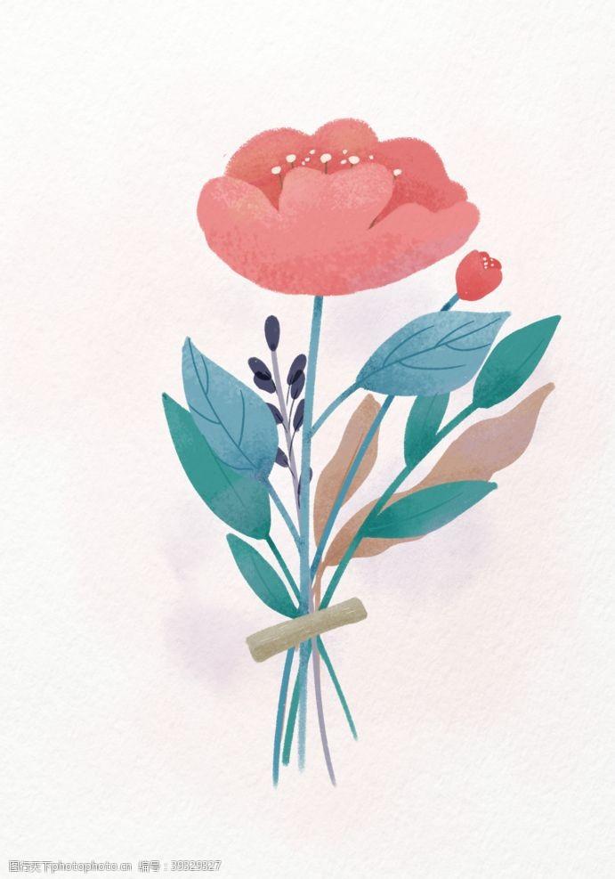 插画头像扁平插画小花可爱牡丹植物图片
