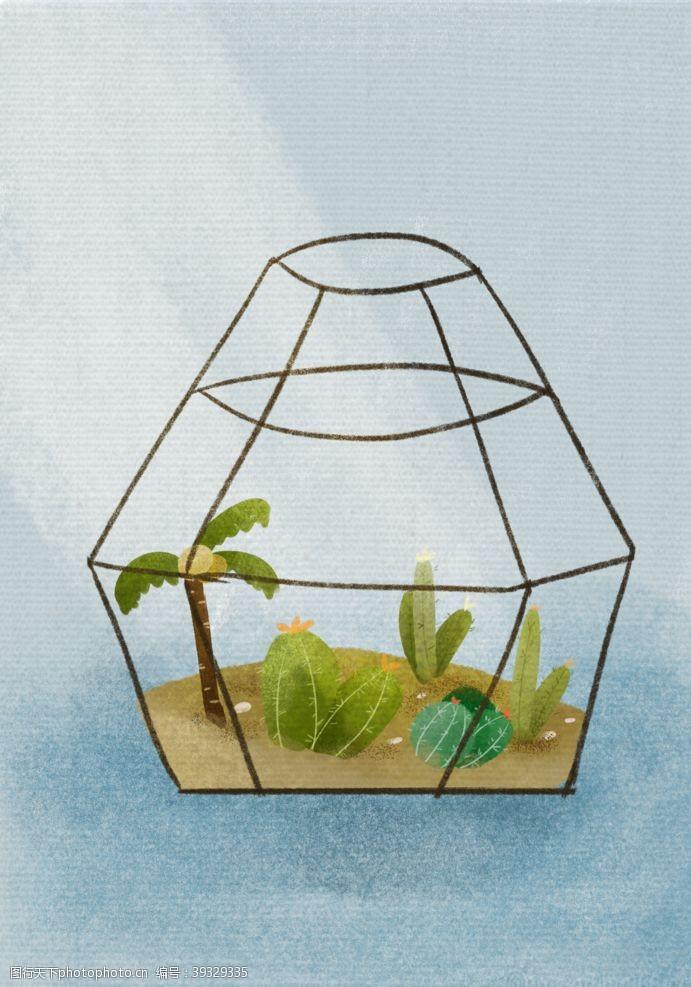 插画头像插画瓶子里的小植物图片
