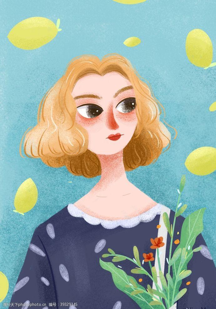 插画头像扁平插画植物女孩图片