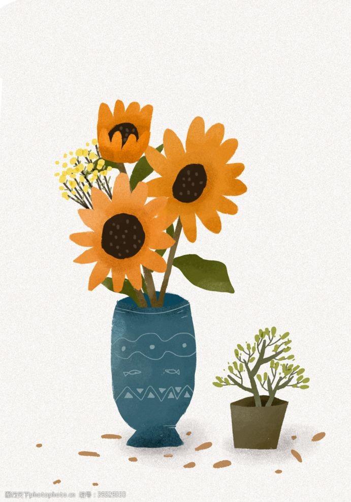 插画头像插画向日葵植物扁平图片
