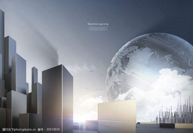 智能背景城市科技背景图片