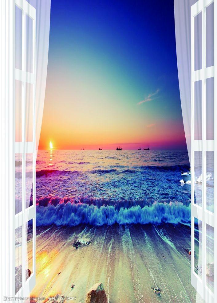 立体空间窗户风景图图片