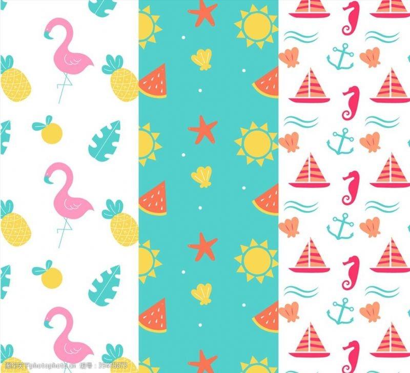 帆船创意夏季无缝背景图片