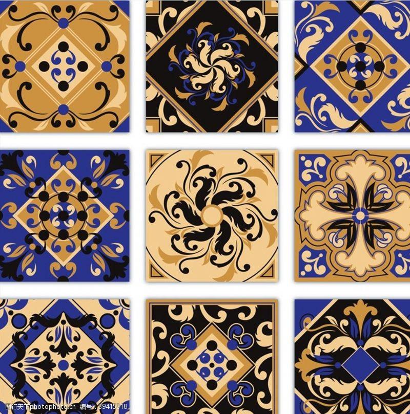 复古花纹方砖图片