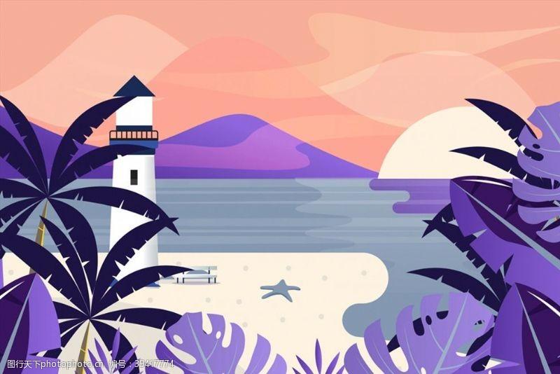 海边沙滩灯塔风景图片