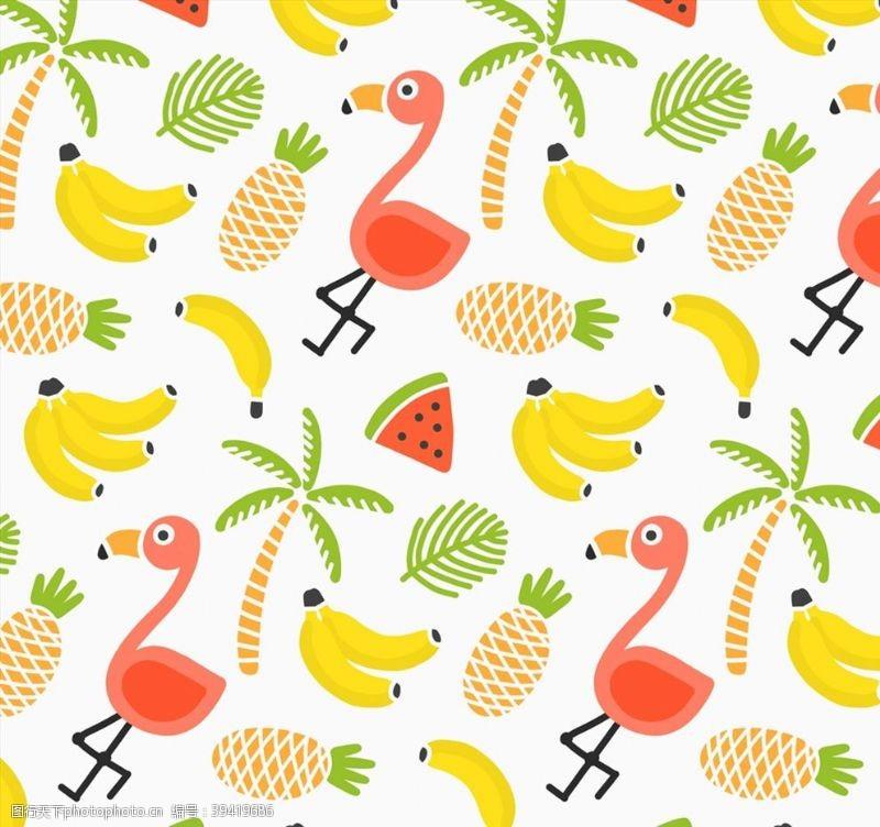 椰子树火烈鸟和水果背景图片