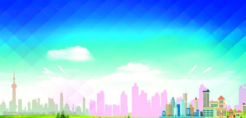 城市背景蓝天白云展板图片