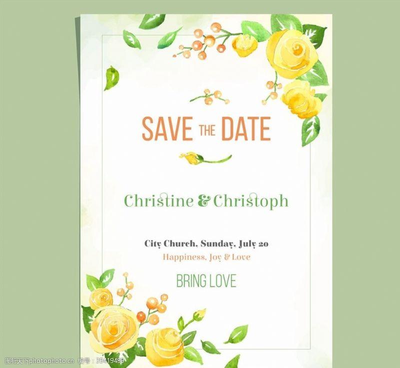 水彩玫瑰花婚礼邀请卡图片