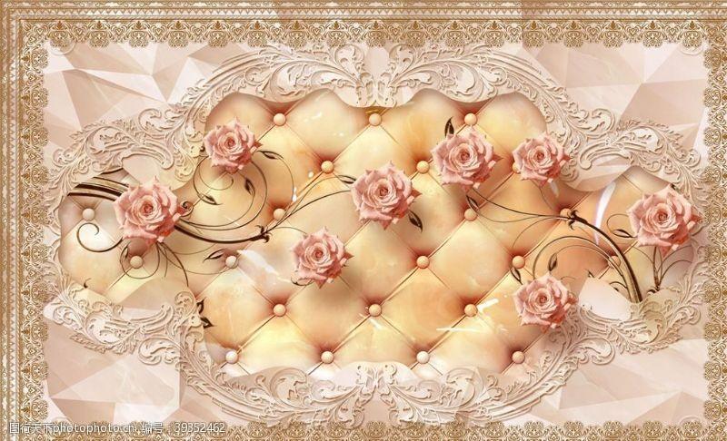 玫瑰花藤欧式花纹背景墙图片