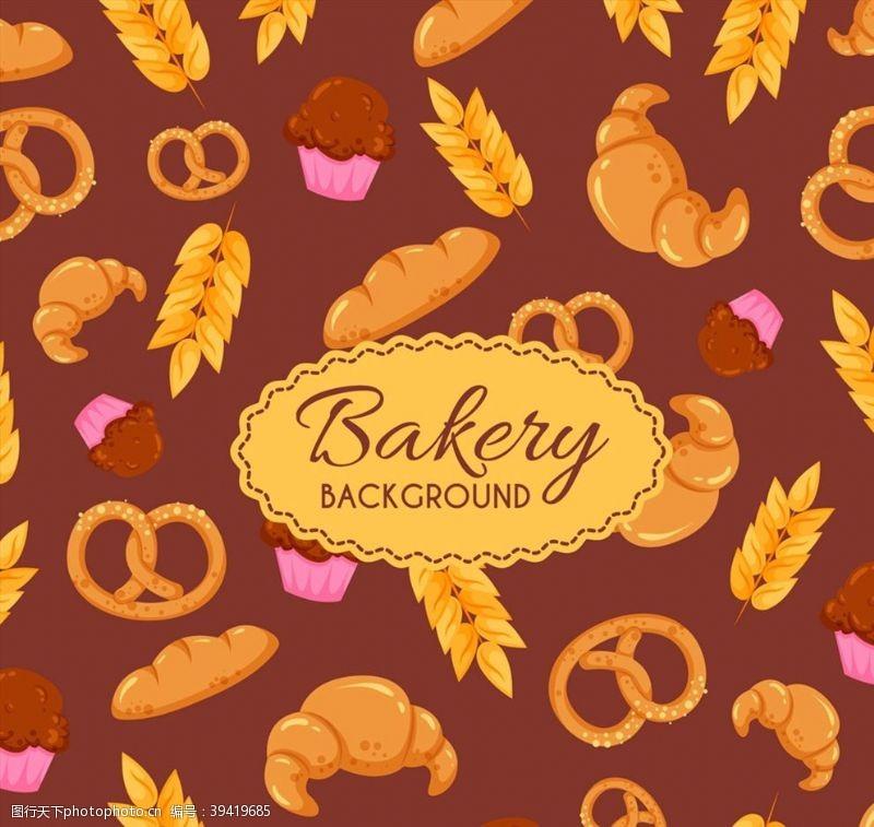 创意面包无缝背景图片